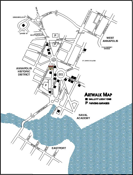 McBride Gallery Overview Map Of Downtown Annapolis Maryland - Anápolis map